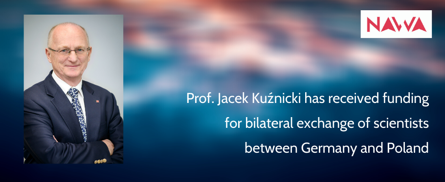 photo of Kuznicki and text: Prof. Jacek Kuźnicki has received funding for bilateral exchange of scientists between Germany and Poland