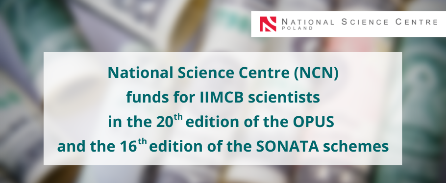 NCN funds for IIMCB scientists in the 20th edition of the OPUS and the 16th edition of the SONATA schemes