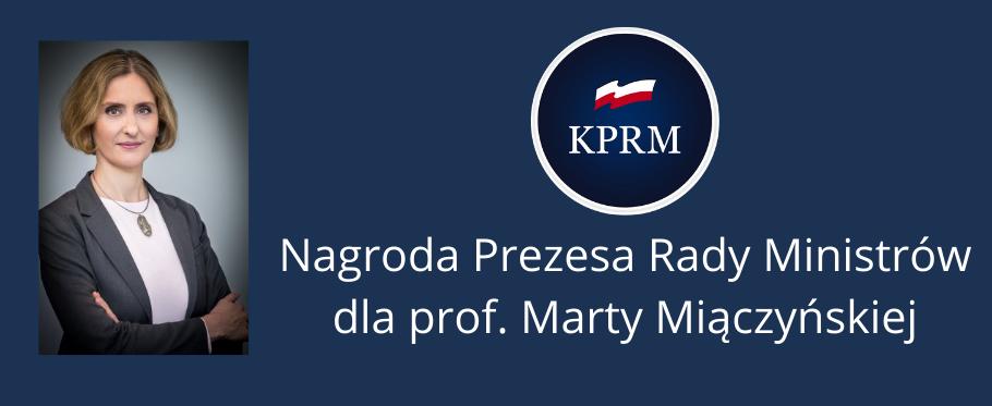 Nagroda Prezesa Rady Ministrów dla prof. Marty Miączyńskiej